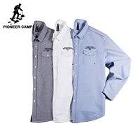 Pioneer Kamp nieuwe collectie casual shirt mannen merk-kleding lange mouwen herfst lente shirt mannelijke kwaliteit 100% katoen ACC701322