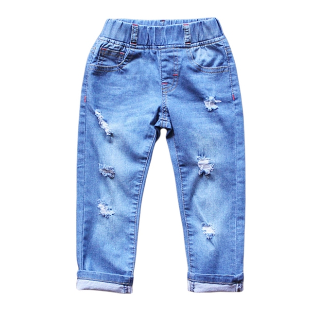 Baby Boys Girls Jeans 2016 New Arrival Ripped Jeans Casual Pants Spring Autumn Long Trousers Elastic Kids clothing For 2-6Y GL06