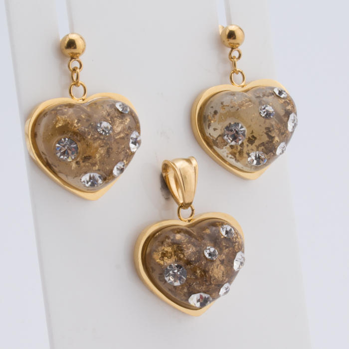 TL Unique Jewelry Set Zircon Heart Locket Glass Pendant Necklace & Earrings Wishing Bottle For Men Women Love Gift