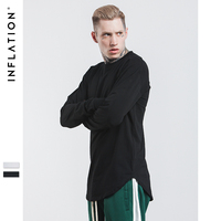 INFLATION Brand Cotton O Neck Streetwear Full Sleeve Length T Shirt Men Solid Color Hip Hop
