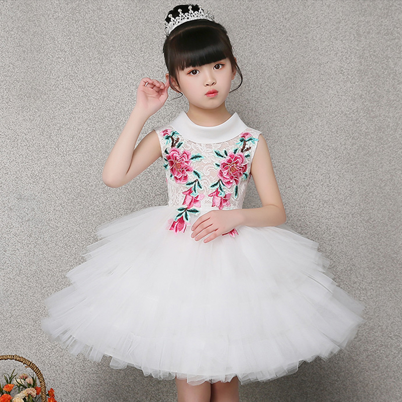 White Princess Girl Dress Sleeveless Summer Dresses Embroidery Ball Gown Flower Girls Dress Cloud First Communion Dresses E263 summer princess dress 2017 hot sale sleeveless children girls dresses clothing fashion ball gown kids girl star sky dresses page 3