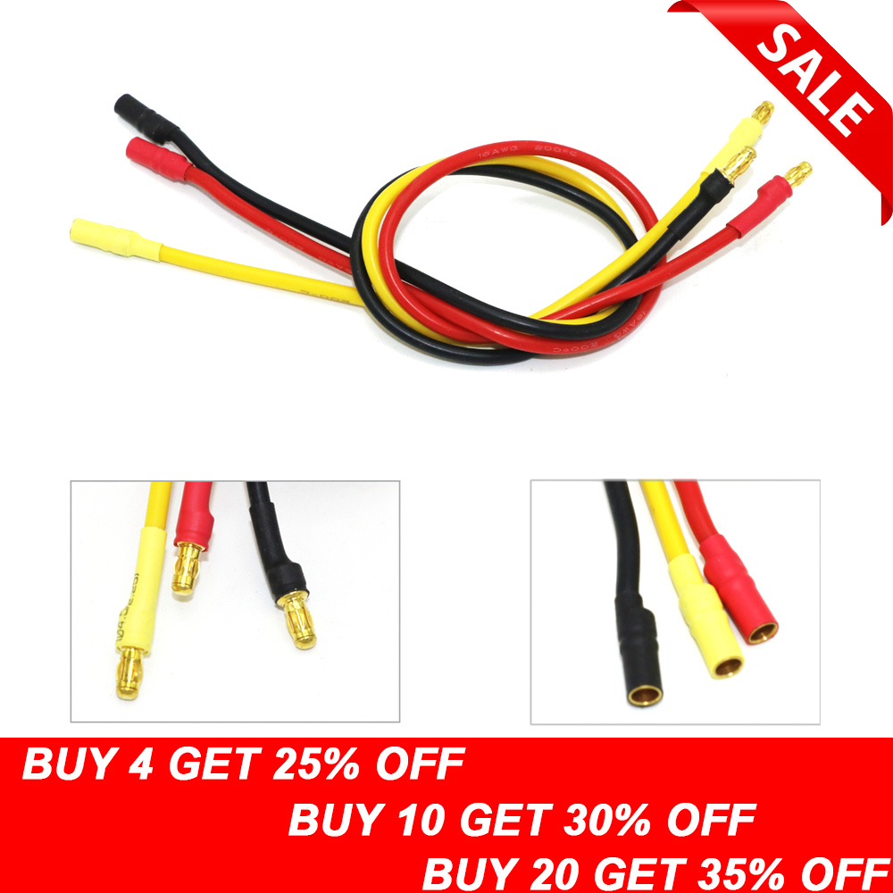 hight resolution of 3pcs lot 300mm 30cm 3 5mm gold bullet banana rc brushless motor esc connectors extension cable wire 16 awg