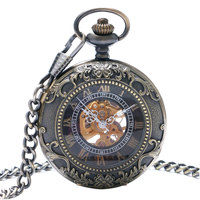 New Arrival Vintage Retro Bronze Hollow Skeleton Roman Number Mechanical Pocket Watch With Chain Best Gift