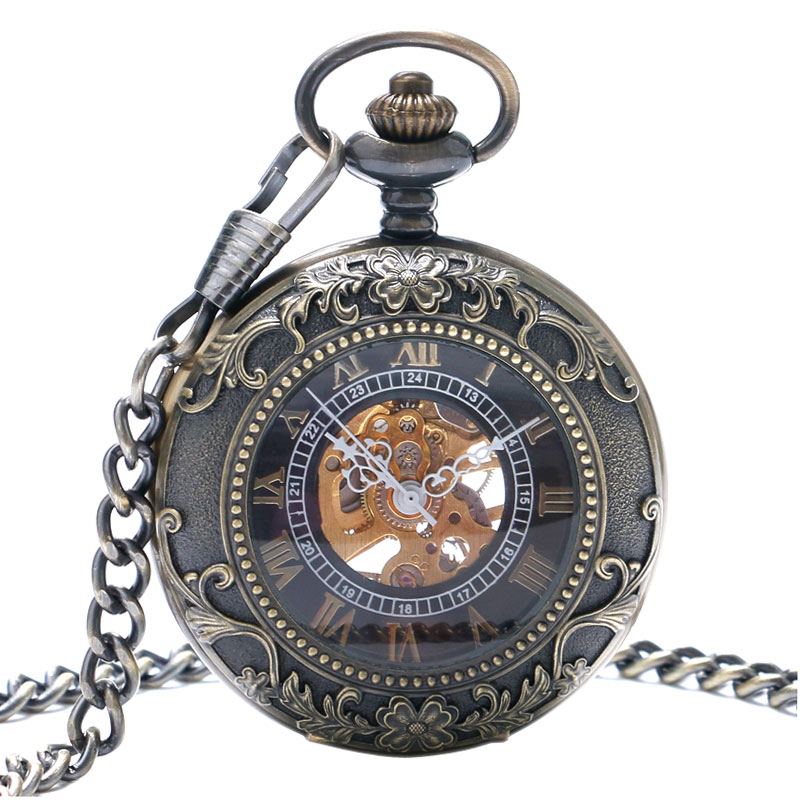 New Arrival Vintage Retro Bronze Hollow Skeleton Roman Number Mechanical Pocket Watch With Chain Best Gift To Men Women