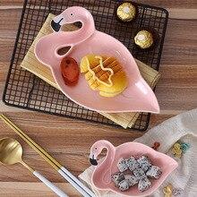 Pink Flamingo ceramic plate bowl bowl set breakfast dish dessert plate dish fruit salad bowl sweet cute plates