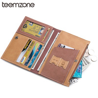 Men Cow Leather Travel Passport Wallet Card Holder Casual Bifold Genuine Leather Multi Capacity Business Long