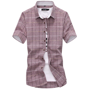 New Arrival Men Shirt Plaid Casual Quality 2019 Summer Autumn Short Sleeve Chemise Homme Outwear Slim Fit Shirts Men M-5XL 1