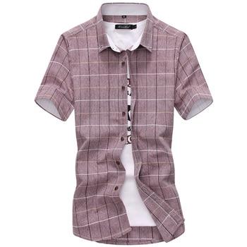 New Arrival Men Shirt Plaid Casual Quality 2019 Summer Autumn Short Sleeve Chemise Homme Outwear Slim Fit Shirts Men M-5XL 1