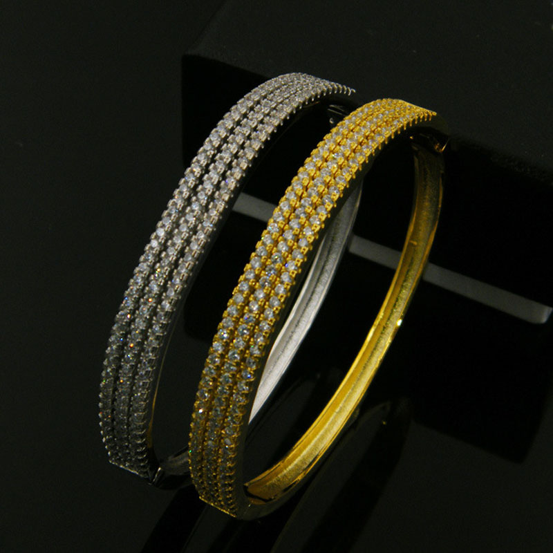 2 Style 3 Rows Full Crystal Iced Out Bracelet Gold Silver Plated Bling Bling Bracelet Bangles Jewelry