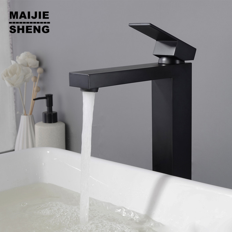Salle de bains noir Stand robinet noir bassin robinet cascade évier mélangeur pur noir europ style robinet d'eau noir CUPC prouvé robinet
