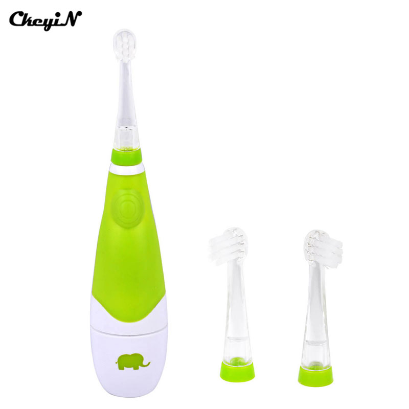 Child Baby Kids Sonic Vibration Electric Toothbrush Smart Reminder Waterproof LED Light Electric Tooth Teeth Brush 3 Brush Heads ckeyin cartoon dolphin children music electric toothbrush led tooth brush 22000 min kids sonic toothbrush electric 3 brush heads
