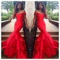От плеча старинные платья русалка длинные красные платья выпускного вечера многоуровневого пром платья