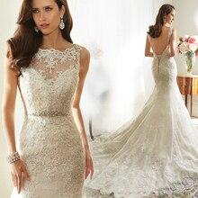 free shipping hot sexy backless romantic 2015 crystal casamento vestido de noiva renda Bridal Gown lace mermaid wedding dress