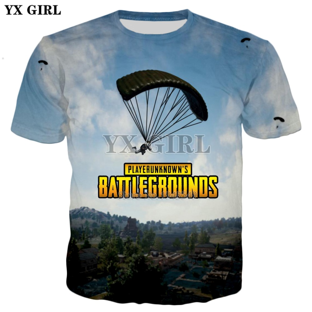 YX GIRL 2018 New style Fashion T-shirts brands t-shirt Top Game PUBG 3D Print Mens Womens Casual Cool t shirt Free shipping