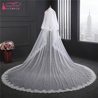 Chapel Wedding Veil 3.5 Meters Two Layers White Ivory Wedding Accessories Bridal Veil With Comb veu de noiva HL16