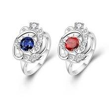 Ring Klassischen Stil Silber Überzogene & Zirkonia Modeschmuck für Frauen Kleid Zubehör Feine Weihnachtsgeschenk Freies Verschiffen