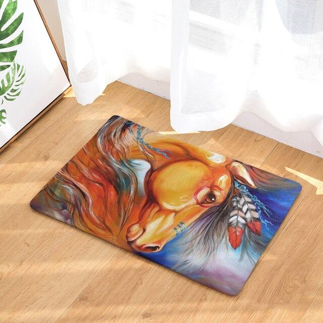 Homing Flanell Weichen Dekoration Treppen Fußmatten Regenbogen Farbe Pferd  Pringting Teppiche Licht Dünne Wasserdicht Bad Teppiche