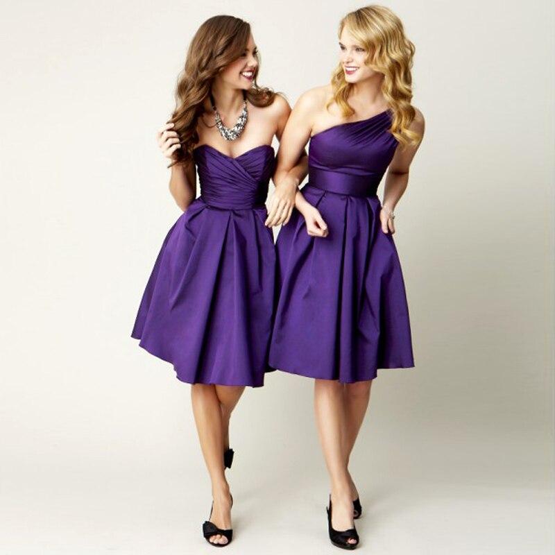 Sexy Cheap Purple Bridesmaid Dresses Knee Length Satin African ...