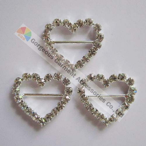 100pcs/lot Heart shape wedding invitation buckle Czech crystal rhinestone slide buckle Sliver Set For DIY accessories