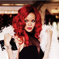 Rihanna New Hairstyle Long Curly Red Clour Synthetic Full Wig  Afro African American Wigs for Sexy Women