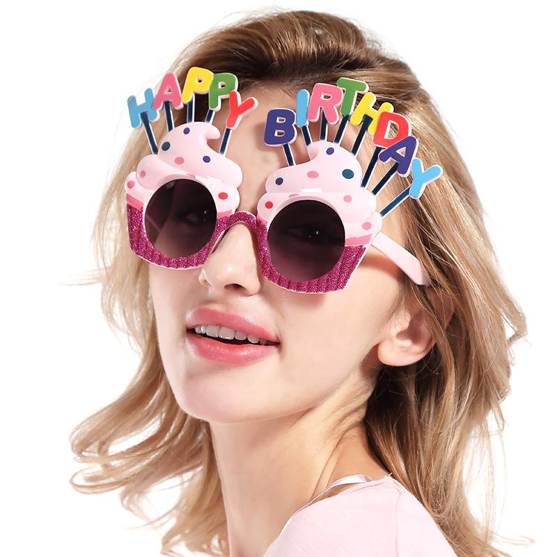 Funny Decorative Ice Cream Shaped Happy Birthday Glasses Novelty Costume Sunglasse for Birthday Gift Party Supplies Decoration