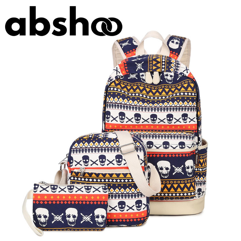 Hot Fashion Canvas Backpack For Teenage Girls School Bags Women Backpacking Backpack 3 Pieces Bag For