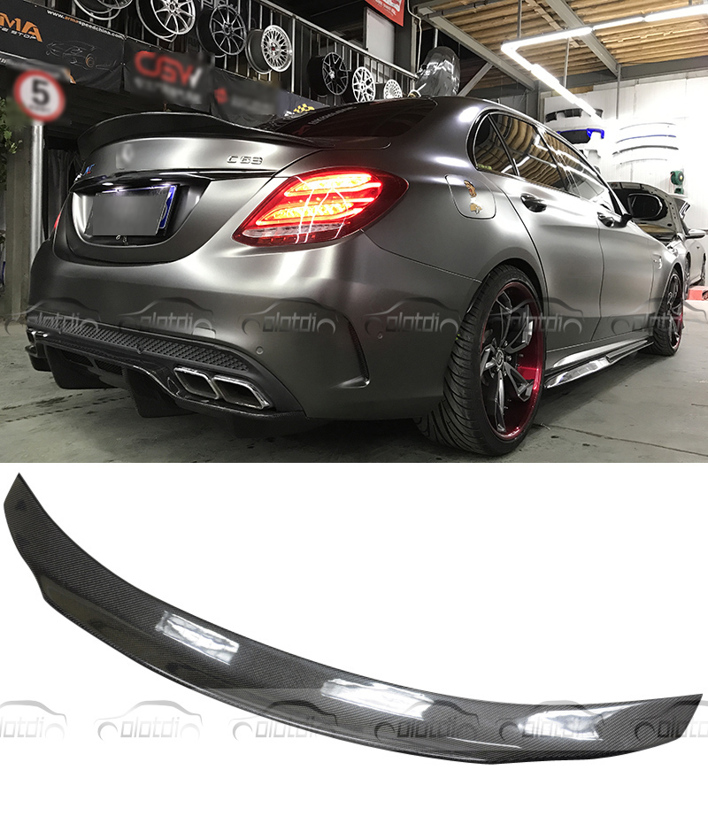 Carbon Fiber PSM Style Rear Trunk Lip Wing Boot <font><b>Spoiler</b></font> For Mercedes-Benz C Class <font><b>W205</b></font> C63 2016-17 Coupe 2 Door & Sedan 4 Door image