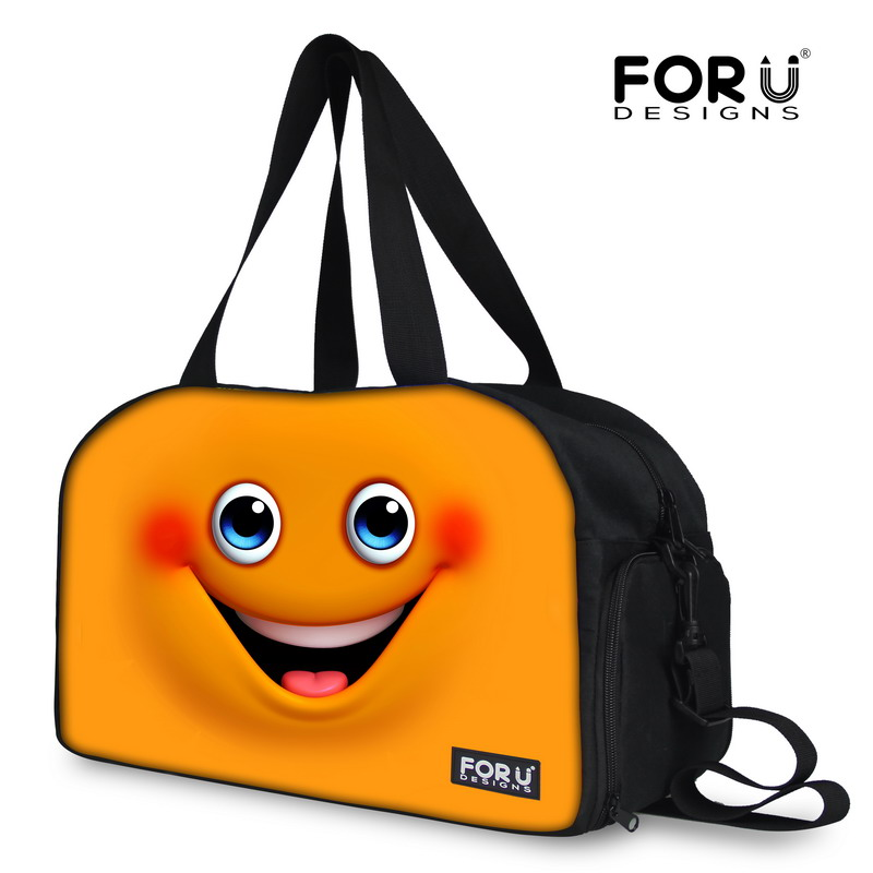 FORUDESIGNS Women Duffle Bag Cute Cartoon Smile Face Bag Large Capacity Travel Bag+Independent Shoe Bit Fashion Bag for Women