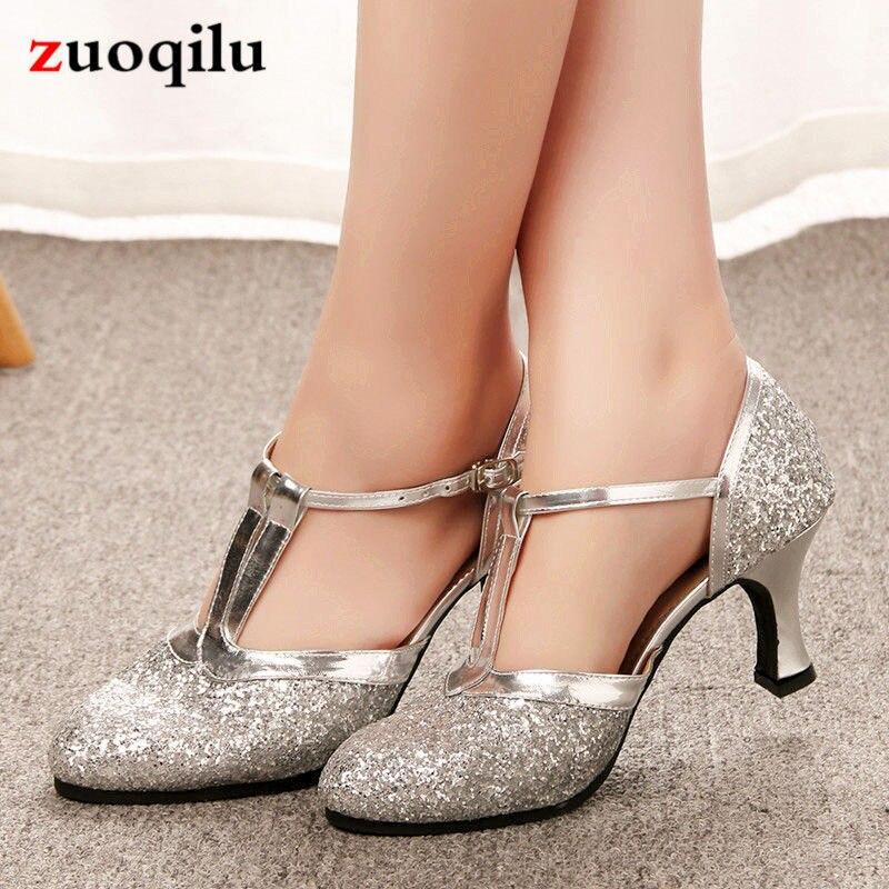 Silver Heels Wedding: 2019 Gold Silver Wedding Shoes T Strap High Heels Pumps