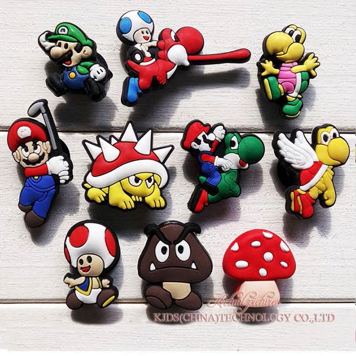 Single Sale 1pc Super Mario PVC Shoe Charms,Shoe Buckles Accessories Fit Bands Bracelets Croc JIBZ,Kids Party X-mas Gifts