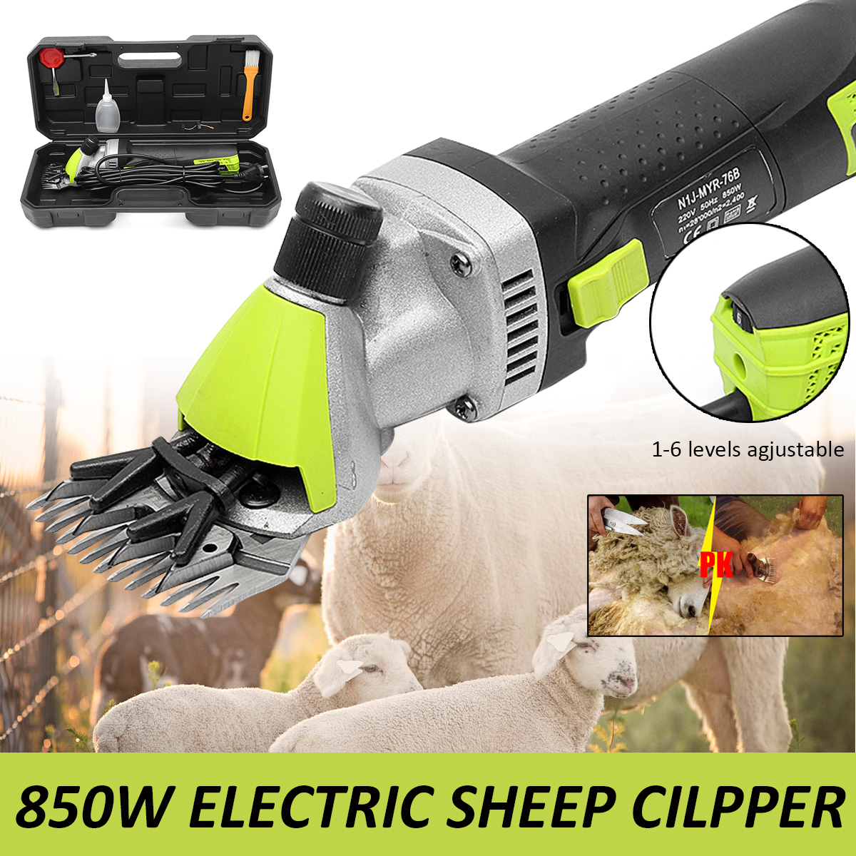 220V 850W Electric Shearing Wool Machine Sheep Goats Clipper Animal Electric Trimmer Tool Farm Home Dog Cat Shearing Supplies new 680w sheep wool clipper electric sheep goats shearing clipper shears 1 set 13 straight tooth blade comb