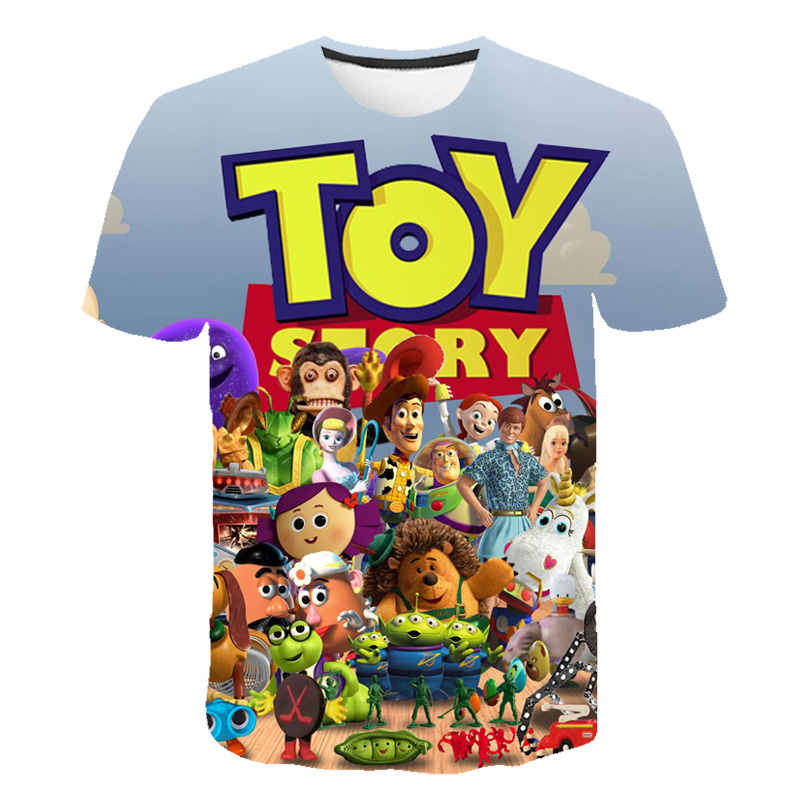 2019 Summer New   t     shirts   Cartoon movie Toy Story 4 3D printed   t  -  shirt   Short sleeve Harajuku style Boy and girl tshirt Anime tops