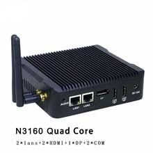 Quad Core N3160 безвентиляторный мини-ПК Windows 10 7 8 Dual LAN NIC Barebone ПК микро компьютер WI-FI DP pfsense Как маршрутизатор брандмауэра сервер