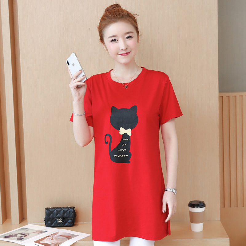 2018 Large size Women T-shirt dress summer Short sleeve Cats print Top Tees Casual O-neck Loose Female Tshirt Plus size 5XL J215 3