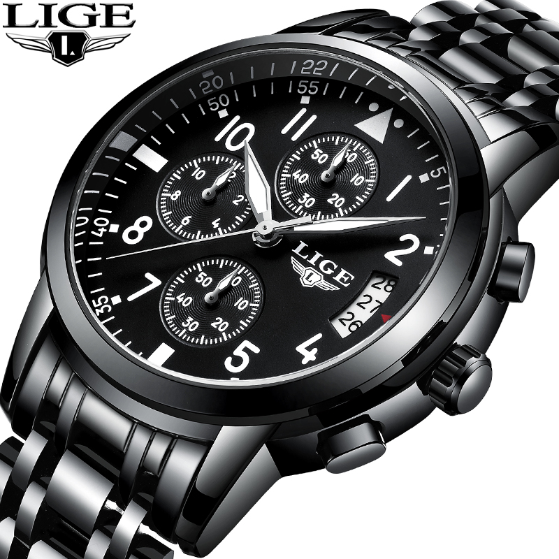 LIGE Watch Men Fashion Sports Quartz Clock Top Brand Mens Watches Luxury Business Full Steel Waterproof Watch Relogio Masculino sinboi submariner 316 full steel mens watches 2018 black rotatable fashion sports quartz men watch business relogio masculino