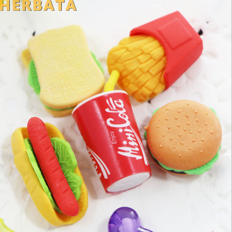 6PCS/Set Cute Kawaii Eraser Hamburger Food French Fries Hot Dog Eraser Office Correction Supplies CL-1815