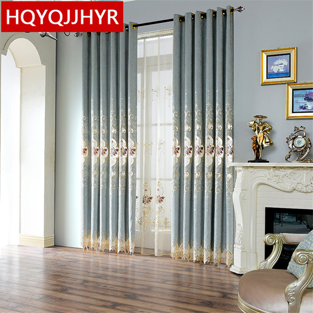 European Luxury Light Blue Embroidered Blackout Decorative Curtains For Bedroom Window Living Room D