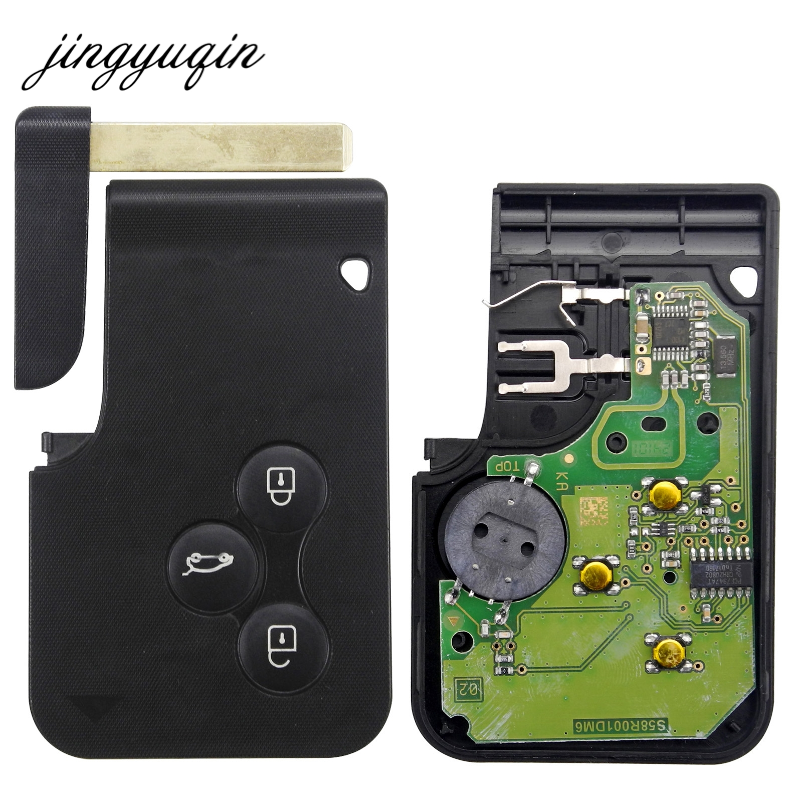 jingyuqin Smart Key Card for Renault Megane II Scenic II Grand Scenic 2003-2008 433mhz PCF7947 Chip ID46 3 Button Remote PCB комплект дефлекторов vinguru накладные скотч для renault scenic ii 2003 2009 минивэн 4 шт