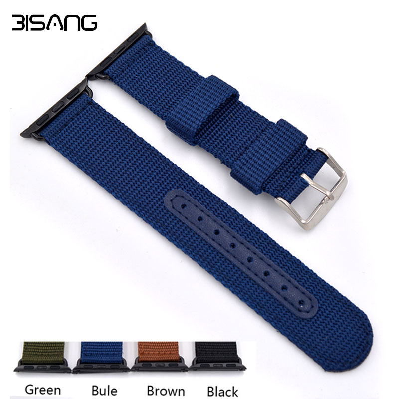 38mm/42mm Black/Brown/Green/blue Woven Nylon Watch Band For Apple Watch Wrist Strap with Metal Adapter for iwatch
