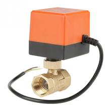 AC 220 v G3/4 DN20 2 דרך פליז ממונע מפעיל כדור שסתום מזגן כלים אבזר