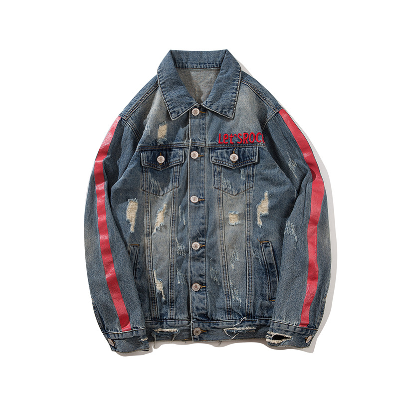 ABOORUN Hi Street Mens Fashion Denim Jackets Distressed Ripped Jeans Jackets Spring Autumn Streetwear Coat for Male x1501