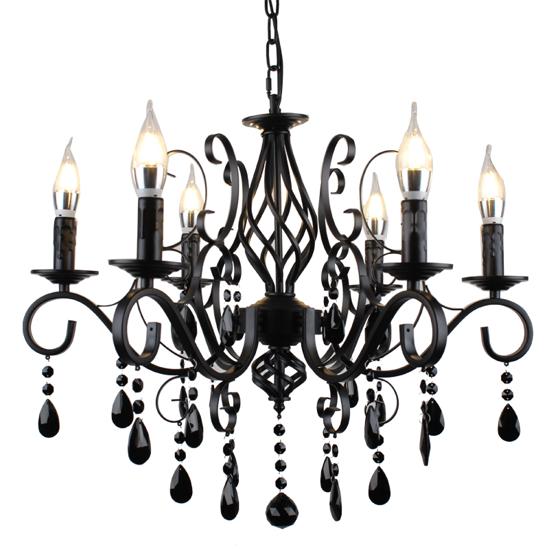 American Crystal Chandelier Lighting Simple Bedroom Living Room lights Iron Candle Lights Clothing Store Staircase Hanging LampsAmerican Crystal Chandelier Lighting Simple Bedroom Living Room lights Iron Candle Lights Clothing Store Staircase Hanging Lamps
