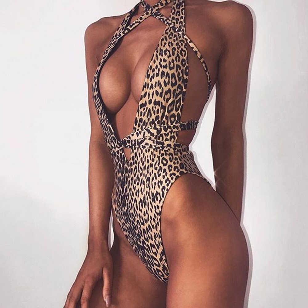 88b5d005a251a Sexy One Piece Suit Women 2018 Leopard Print Monokini Halter Bandage  Swimsuit Backless Swimwear Push Up