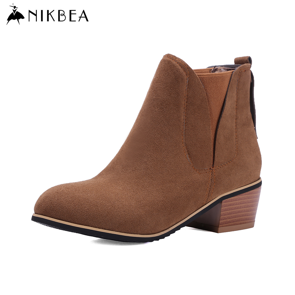 Nikbea Suede Ankle Boot Chunky Low Heel Chelsea Boots Large Size Botines Mujer 2016 Autumn Winter Shoes Woman Botas Feminina botines mujer 2016 autumn spring women boots lace up print motorcycle ankle boot ladies flat shoes woman botas mujer xwx3362
