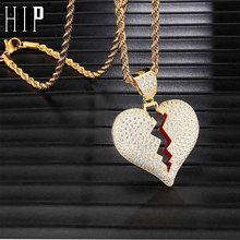 Hip Hop Iced Out Copper Full Rhinestone Rope Chain Heart Breaking Pendant & Necklace For Men Jewelry Dropshipping rhinestone heart faux leather rope necklace