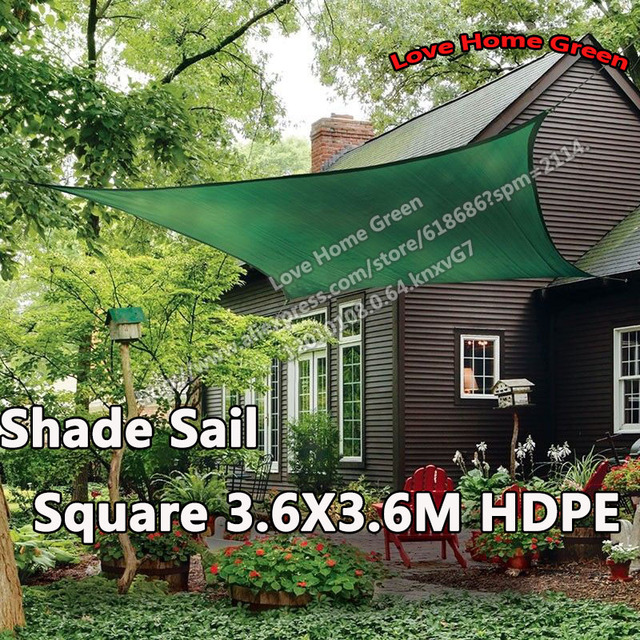 Garden Sun Shade Sail Net Combination HDPE Awning Canopy Square 3.6X3.6M