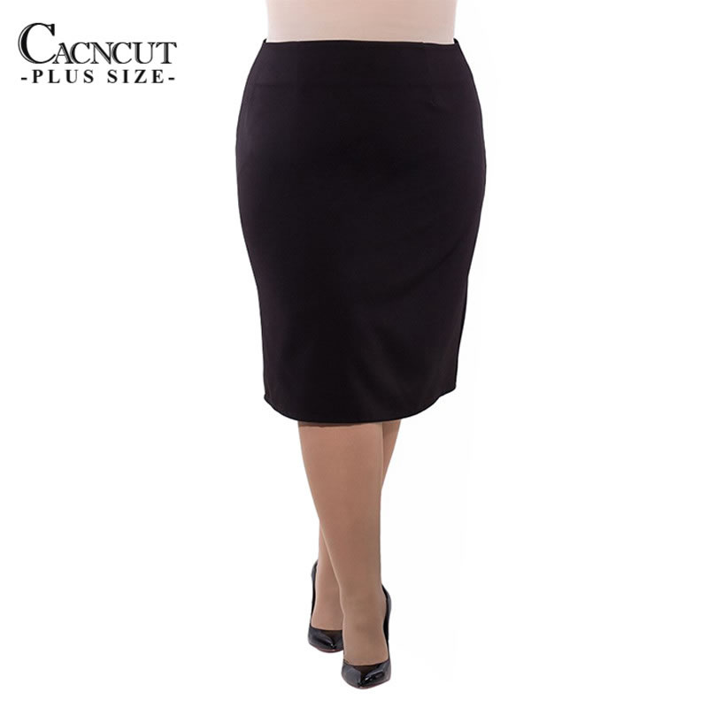 CACNCUT 2018 Big Size Office Ladies Skirts 5xl 6xl Plus Size High Waist  Pencil Skirt Summer Bodycon Slim Split Skirt For Women 58a44b602074