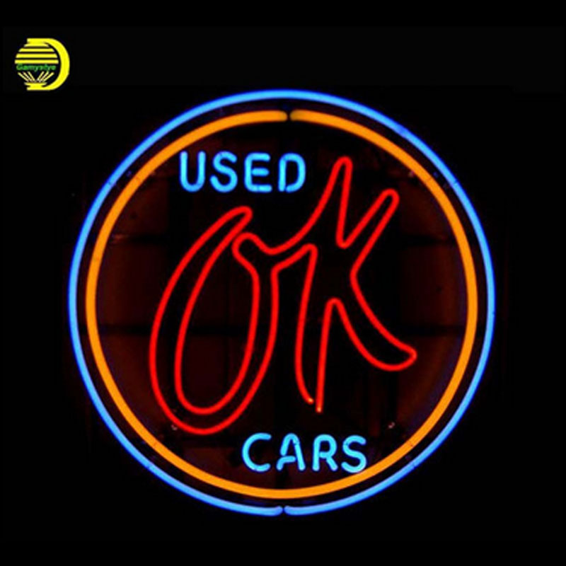Used Cars Neon Sign for Store Neon Bulbs Sign Real Glass Tube Handcrafted Neon Beer Sign Decorate shop neon light sign 24x24 image