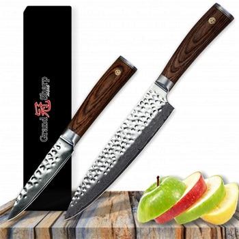 Grandsharp 2 Pcs Chef Knife Set Chef Paring Knife Japanese Damascus Stainless Steel VG10 Japanese Damascus Kitchen Knives Gift
