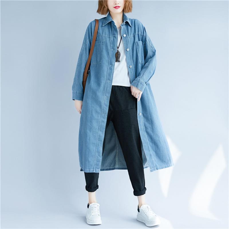 Solid Turn Female Autumn New Full Blue Sleeve Casual Collar down hg Long Light Shirt Denim Women Color Ljt3491 dark 2018 Blouse Loose Ljt3491 Korea 7Oqp8